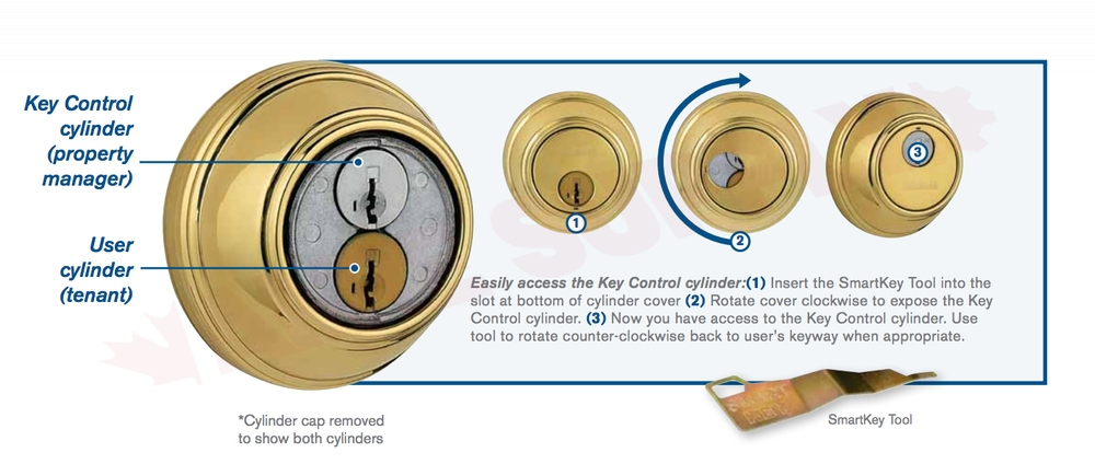 GCD9571-26D-SMTBSL : Weiser Key Control SmartKey Single Cylinder