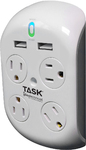 TASK TOOLS ROTATING SURGE PROTECTOR, WITH USB, 6 OUTLETS