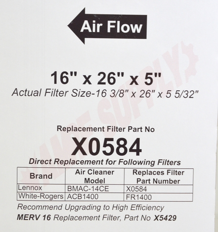 Photo 6 of X0584 : Lennox Air Cleaner Filter, 16 x 26 x 5, MERV 11