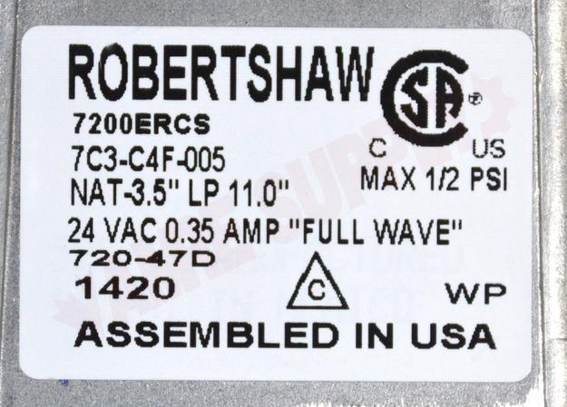 720-474 : Robertshaw Standing Pilot Gas Valve, 1/2