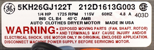 Photo 10 of WW02F00346 : GE Dryer Drive Motor Kit