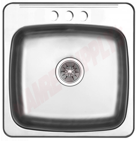 Photo 1 of PSL2020/3 : Kindred Regal Drop-In Kitchen Sink, 1 Bowl, 3 Holes, Stainless Steel