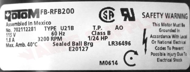 Photo 23 of FB-RFB200 : Blower Draft Inducer, Flue Exhaust 1/24HP 3200RPM 115V Olsen