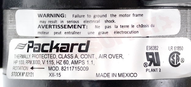 Photo 14 of 82121 : Packard Motor Draft Inducer, Flue Exhaust 3.3 Dia. 1/33HP 3000RPM 115V Carrier Replacement