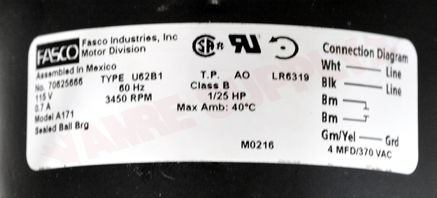 Photo 18 of A171 : Packard Blower Draft Inducer, Flue Exhaust Assembly 1/25HP 115V 0.70A ICP, Keeprite