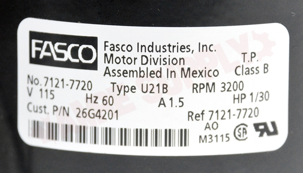Photo 13 of 26G42 : Lennox Inducer Motor 1/30HP 3200RPM 115V