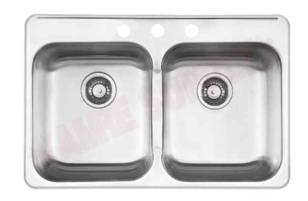 Photo 1 of RDL2031/3 : Kindred Reginox Drop-In Kitchen Sink, 2 Bowls, 3 Holes, Stainless Steel