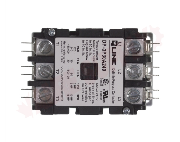 Photo 9 of DP-3P30A240 : Definite Purpose Magnetic Contactor, 3 Pole 30A 208/240V, Screw Type