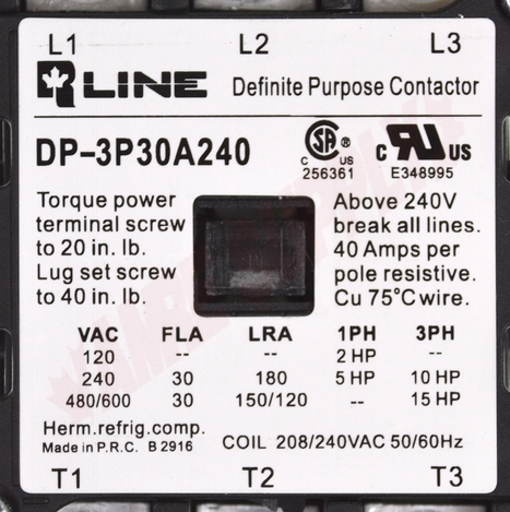 Photo 12 of DP-3P30A240 : Definite Purpose Magnetic Contactor, 3 Pole 30A 208/240V, Screw Type