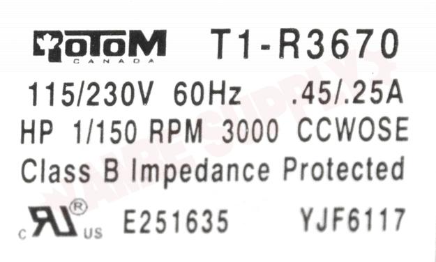 Photo 16 of T1-R3670 : Rotom Universal 1 Speed Utility C Frame Motor Kit 1/150HP 3000RPM 115/240V with Blades & Brackets