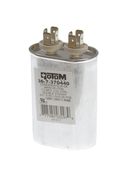 capacitor 7 5mfd 370/440v oval run dual voltage
