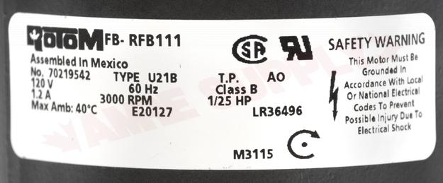 Photo 14 of FB-RFB111 : Blower Draft Inducer, Flue Exhaust 1/25HP 3000RPM 115V Olsen