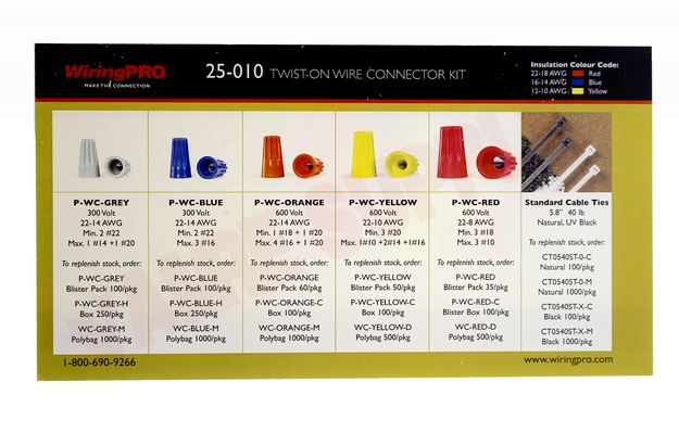 Photo 7 of 25-010 : WiringPro 22-8 AWG Twist-On Wire Connector Kit, 375 Pieces