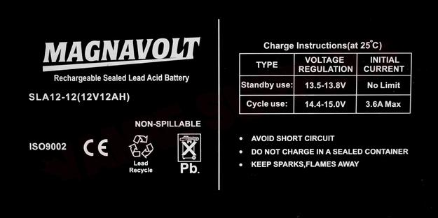 Photo 8 of SLA12-12 : Battery, 12Ah 12V Sealed Lead