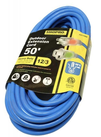 Photo 1 of P011060 : Shopro Cold Weather Extension Cord, 1 Outlet, Blue, 50 ft.