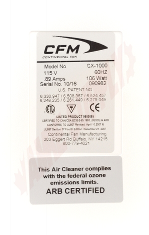 Photo 9 of CX1000 : Continental Fan Portable Air Purifier