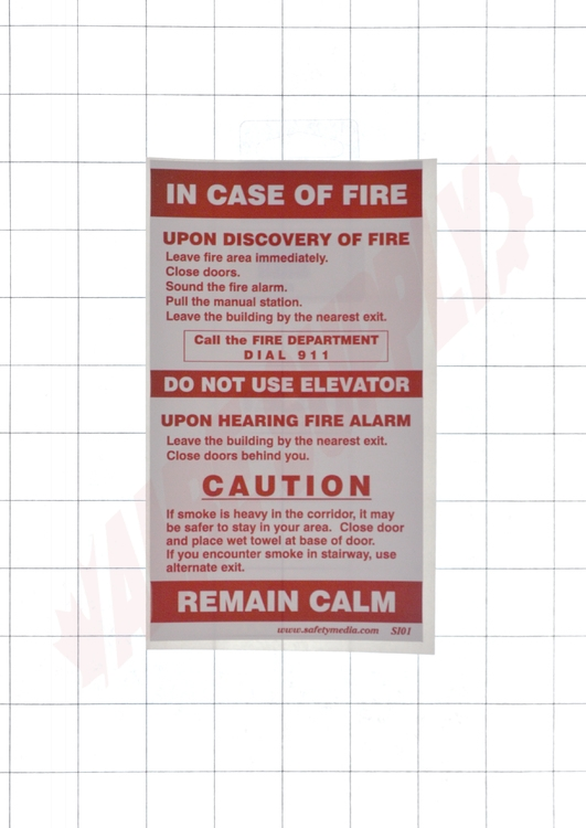 SI01 : Safety Media Emergency Procedure Sign, With Elevator, Vinyl Elevator Requirements Fire Alarm Wiring Diagram on