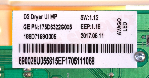 Photo 9 of WW02A00111 : G.E. Dryer User Interface Board Assembly