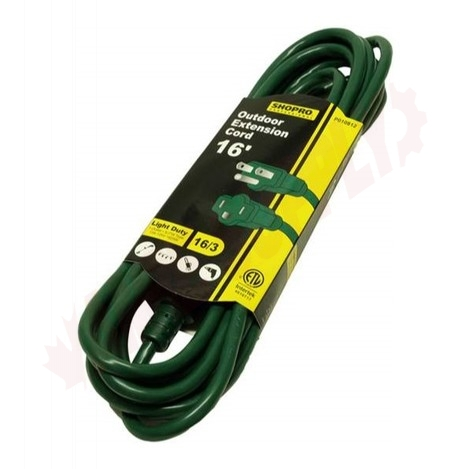 Photo 1 of P010812 : Shopro Outdoor Extension Cord, 1 Outlet, Green, 15 ft.
