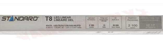 Photo 3 of 65478 : 15W T8 Linear LED Lamp, 48, 4000K