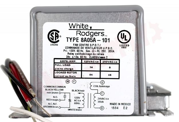 8A05A-201 : Emerson White Rodgers Relay/Transformer, 120VAC, Enclosed, SPDT  | AMRE Supply | White Rodgers Transformer Wiring Diagram |  | AMRE Supply