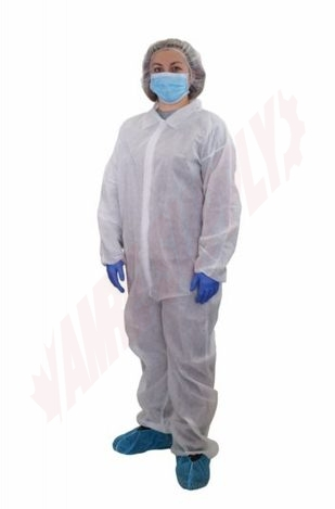 Photo 1 of 7721 : Globe Disposable Coveralls, White, Large
