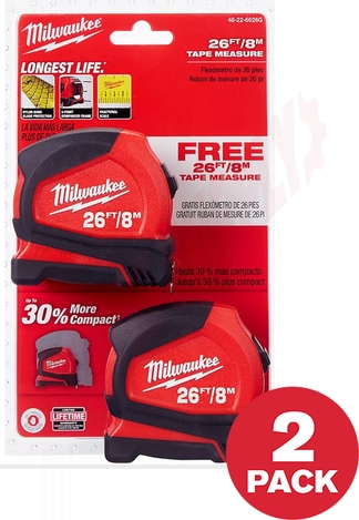 Photo 1 of 48-22-6626G : Milwaukee Compact Tape Measure, 8m/26', 2/Pack