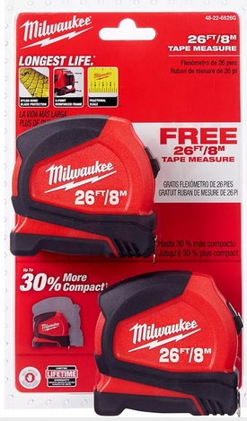 Photo 2 of 48-22-6626G : Milwaukee Compact Tape Measure, 8m/26', 2/Pack