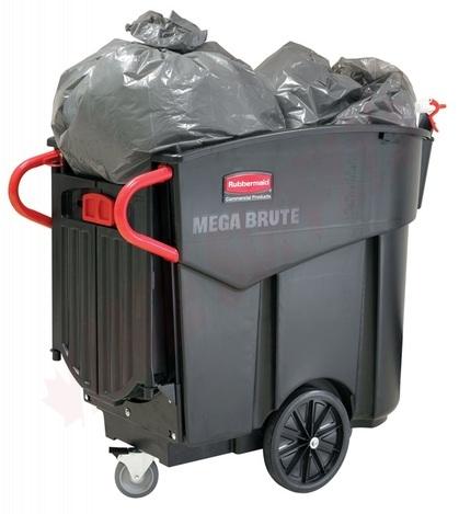 Photo 1 of 9W7300BLA : Rubbermaid Mega Brute Mobile Waste Collector, 400lb