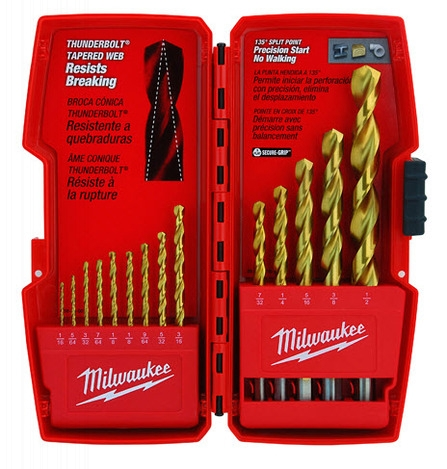 Photo 1 of 48-89-0011 : Milwaukee 14-Piece Thunderbolt Titanium Coated Drill Bits
