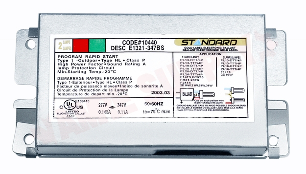 Photo 1 of ED21326-120-277 : Standard Lighting Electronic Compact Fluorescent Ballast, 120-277V