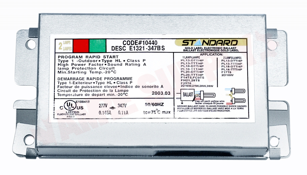 E22150 277 347 Sl Standard Lighting Electronic Compact Fluorescent