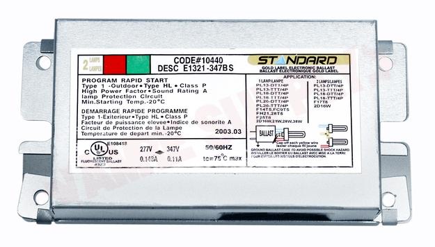 Photo 1 of E22150-277-347-SL : Standard Lighting Electronic Compact Fluorescent Ballast, 347V