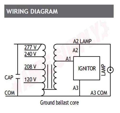 Photo 2 of BALS0100QCL : Standard Lighting Magnetic High Pressure Sodium Ballast, 120/208/240/277V